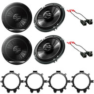 2 New Pair Pioneer TSG1620F 6.5-Inch 2-Way 300W Car Stereo Audio Speakers With Enrock EGMSUVSA95-05 GM Full Size P/U SUV Speaker Adaptors 1995-2005 And Speaker Harness for Select GM Vehicles