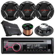 """Clarion CZ102 CD/MP3/WMA AUX Car Stereo Receiver Bundle Combo With 4x CSDR620 6.5"""" 300 Watt 2-Way Upgarde Audio Coaxial Speakers + Dual XPE4700 800w 4-Channel Amplifier + 50 Foot 16 Guage Speaker Wire"""