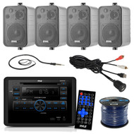Pyle PLRVST300 RV Wall Mount Bluetooth CD/DVD Receiver Bundle Combo With 4x Enrock Black 4'' 200-Watt Waterproof Stereo Box Speaker + Radio Antenna + USB/AUX To RCA Cable + 18G 50-FT Wire