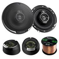 """2 Pairs Car Speaker Package Of 2x Kenwood KFC1695PS 6-1/2"""" 3-way 320 Watt Car Coaxial Speakers Bundle With Kenwood KFC-ST01 1"""" Inch 160-Watt Dome Tweeters + Enrock 16g 50 Feet Speaker Wire"""