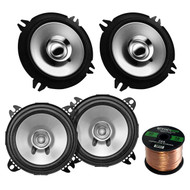 "2 Pair Car Speaker Package Of 2x Kenwood KFC-C1355S 5 1/4"" 250-Watt 2-Way Flush Mount Coaxial Speakers + 2x KFC-C1055S 210-Watt 4"" Inch Black Dual Cone Speakers + Enrock 16g 50 Ft Speaker Wire"