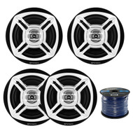"Package Bundle Includes = Enrock Marine Boat 6.5"" Inch Dual-Cone Black/Chrome Stereo Speakers, EnrockMarine 16 Gauge 50 Feet Tin Plated OFC Speaker Wire Cable corrosion resistant jacket"
