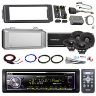 "Harley Audio Package Of Pioneer DEH-X6900BT Bluetooth CD MP3 Stereo Receiver Bundle Combo With Dash Trim Kit + Radio Cover + 4x 5.25"" Speaker + 4 Channel Amplifier W/ Install Kit + HandleBar Conroller"