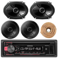 """Kenwood KDC118 Car Radio USB AUX CD Player Receiver - Bundle Combo With 2x 250W 6x8"""" inch 2-Way Coaxial Car Audio Speakers + 2x 6.5-Inch Speakers + Enrock 50 Ft 18 Gauge Wire"""