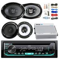 "JVC KDR690S Car CD Player Receiver USB AUX Radio - Bundle Combo With 2x Kenwood 6.5"" 2-Way Black Car Coaxial Speakers + 2x 6x9"" Inch 3-Way Speaker + 4-Channel Bluetooth Amplifier + Amp Kit"