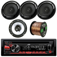 """JVC KDR480 Car Radio USB AUX CD Player Receiver - Bundle Combo With 4x Kenwood KFC1665S 6.5"""" 2-Way Black Car Coaxial Audio Speakers + Enrock 50 Ft 18 Gauge Wire"""