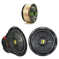 """Enrock 14 AWG Gauge 50 Feet Speaker Wire, 2 X 40CWD84 X Kicker 40CWD84 8"""" CompD Car Subwoofer - Each (Black)"""