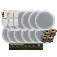 KTHSP126 - 6 Room In-Ceiling 6'' Home Speaker System w/6 Volume Controls Knob & Selector