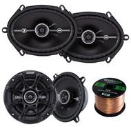 """Kicker 41DSC54 5.25"""" 2-Way Speaker, Kicker 41DSC684 D-Series 6x8"""" 400 Watt 2-Way 4-Ohm Car Audio Coaxial Speakers, Enrock Audio 16-Gauge 50 Foot Speaker Wire"""