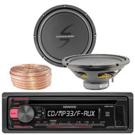Kenwood KDC118 Car CD Player Receiver USB AUX Radio - Bundle Combo With 2x 12-Inch Dual 4-Ohm Single Voice Coil Subwoofer + Enrock 50 Foot 18 Gauge Wire