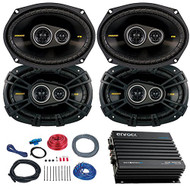 Car Speaker Set With Amplifier - 4 Kicker CS6934 6x9 Inch 900 Watt 4-Ohm 3-Way Car Audio Coaxial Speaker + Enrock EKMB500ABT 400W 4-Chan Bluetooth Car/Marine Amplifier + Boss KIT2 Amp Installation Kit