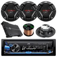 "JVC KDX330BTS Single-DIN AM/FM USB AUX Car Stereo Receiver Bundle Combo With 4x CSDR620 6.5"" 300 Watt 2-Way Upgarde Audio Coaxial Speakers + Dual XPE4700 800w 4-Channel Amplifier + 50 Foot 16 Guage Speaker Wire"