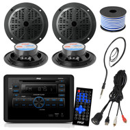 Pyle PLRVST300 RV Wall Mount Bluetooth CD/DVD Receiver Bundle Combo With 4x Black 4'' Inch Dual Cone Waterproof Audio Speakers + Enrock Radio Antenna + USB/AUX To RCA Cable +18G 50-FT Wire