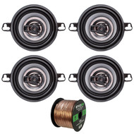 "Set Of Crunch CS35CX 150w 3.5"" 4 Ohm 150 Watt Car Audio Coaxial Speaker Bundle With Enrock 50ft Speaker Wire"