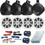 "Speaker Package Of 4 Kicker 41KM604W White 6.5"" Boat Coaxial Speaker + 4 Black Pyle PLMRB85 8"" Marine Wake board Speakers + Lanzar 4800w Amplifier With Installation Kit + Enrock 100ft Speaker Wire"