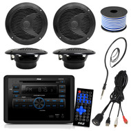 Pyle PLRVST300 RV Wall Mount Bluetooth CD/DVD Receiver Bundle Combo With 4x Black 6-1/2'' Dual Cone Waterproof Stereo Speaker + Enrock Radio Antenna + USB/AUX To RCA Cable +18G 50-FT Wire