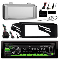 JVC KDR680S Radio USB AUX CD Player Receiver W/ Cover - Bundle With Install Dash Kit + Handle Bar Control + Enrock Antenna for 98 2013 Harley Touring Flht Flhx Flhtc Motorcycle Bike