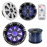 "Marine Speaker Bunde Kit Of 1 Kicker 41KMW104LC 10"" 150w Marine Boat LED Subwoofer + Set Of 2 Kicker 8"" Coaxial Multi Color LED Audio Speakers + Kicker LED Remote Control + Enrock 50ft Speaker Wire"