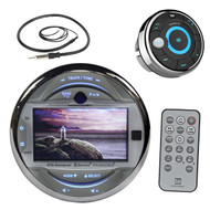 """Dual Electronics MGH30BT Marine Boat Yacht Bluetooth Gauge Style Digital Media Receiver Bundle Combo With MWR15 Waterproof Wired Remote Control + Enrock 22"""" Radio Antenna"""