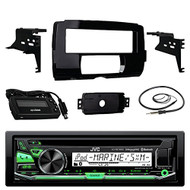 "Audio Bundle For 2014 and Up Harley - JVC KDR97MBS CD MP3/USB/AUX Marine Bluetooth Media Receiver Combo With Installation Dash Kit for Single DIN Radios for Motorcycles, Enrock 22"" Wired AM/FM Antenna"