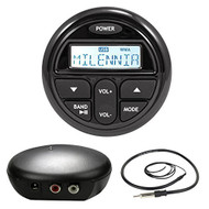"Milenna PRV17 Marine Boat Yacht Gauge Style Stereo Receiver Media Player Bundle Combo With A Bluetooth Waterproof Audio Transmitter Module + Enrock 22"" AM/FM Radio Antenna"