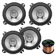 """2 Pairs Car Speaker Package Of 4x Kenwood KFC-C1055S 210-Watt 4"""" Inch Sport Series Black Dual Cone Speakers - Bundle Combo With Enrock 16g 50 Ft Speaker Wire"""