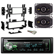 "Pioneer DEH-X4900BT Car CD MP3 Player Receiver - Bundle Combo With Kicker 4x6"" Inch 300-Watt Black Coaxial Speakers + Installation Dash Kit + Radio Wiring Harness For Select 1976-1996 GM Vehicles"