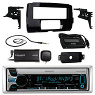 Audio Bundle For 2014 and Up Harley - Kenwood KMR-D765BT Marine USB/AUX CD Player Bluetooth Receiver Combo With Installation Dash Kit for Motorcycles, SiriusXM Radio Tuner, Enrock Wired AM/FM Antenna