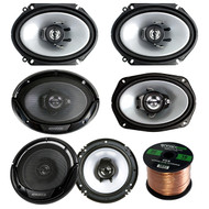 """3 Pair Car Speaker Package Of 2x Kenwood KFC-C6865S 6x8"""" 250 Watt 2-Way Coaxial Speakers + 2x KFC1665S 6.5"""" 2-Way Audio Speaker + 2x 6965S 6x9"""" 400W 3-Way Speaker + Enrock 16g 50 Ft Speaker Wire"""