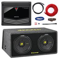 "Kenwood KAC-5001PS Class D Monoblock Amplifier 1000W Max, Kicker 40DCWS122 12"" 1200 Watt Dual Loaded Car Audio Subwoofer Sub Enclosure, Kicker 09DPK8 D-Series 8AWG ROHS Compliant Amplifier Power Kit"