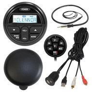 "Marine Audio Package Kit of Milenna PRV17 Marine Gauge Style AM/FM Radio Stereo Receiver With Protective Cover Bundle Combo With Waterproof Wired Remote Control + Enrock USB/AUX To RCA Interface Mount Cable + 22"" Radio Antenna"