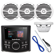 "Rockford Fosgate PMX-2 Ultra Compact Bluetooth Marine Boat MP3 Digital Media Receiver Bundle Combo With 4x RM0652 6.5"" Inch Audio White Speakers + Enrock Radio Antenna + 50Ft Wire"