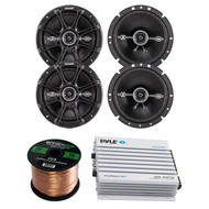 "Kicker 41DSC674 6.75"" 2-Way Speaker, Pyle PLMRA410BT Elite Series Waterproof Bluetooth Amplifier, 400 Watt 4-Channel Amp, Enrock Audio 16-Gauge 50 Foot Speaker Wire"