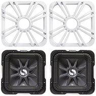 "Package: (2) Kicker 11S10L72 10"" 2 Ohm Solo Baric L7 Subwoofers Totaling 2400 Watt + (2) Kicker 11L710GLW 10"" White Grilles With LED Lighting For SoloBaric 11S10L7 Subwoofer"