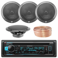 Kenwood KDCBT32 Car CD Player Receiver Bluetooth USB AUX Radio - Bundle Combo With 2x L65-S 6-1/2 Inch Full Range Black Car Component Speakers + Enrock 50 Foot 18 Gauge Wire
