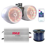 "Marine Speaker And Amp Combo: Pyle PLMRMP3A 4 Channel 1200 Watt Waterproof MP3 Power Amplifier Bundle With 6.5"" 400W Dual Wakeboard Waterproof LED White Tower Speakers + Enrock 50Ft 16g Speaker Wire"