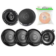 "3 Pairs Car Speaker Package Of 4x Kenwood KFC-1065S 4"" Inch 210-Watt 2-Way Sport Series Flush Mount Coaxial Speakers + 2x KFC1695PS 6-1/2"" 3-way 320 Watt Car Speakers + Enrock 18g 50 Feet Speaker Wire"