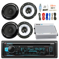 "Kenwood KDCBT32 Car CD Player Receiver Bluetooth USB AUX Radio - Bundle Combo With 2x Kenwood KFC1665S 6.5"" Inch 300-Watt 2-Way Black Car Coaxial Speakers + 4-Channel Amplifier + Amp Install Kit"