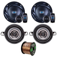 "Two Sets Of Car Audio Speakers - Autotek ATS65C ATS 6.5 Inch 300w Car Stereo Speaker + Crunch CS35CX 150w 3.5"" 4 Ohm Audio Coaxial Speaker + Enrock 50ft Speaker Wire"