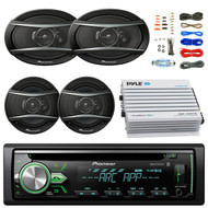 "Pioneer DEH-X4900BT Car Bluetooth Radio USB AUX CD Player Receiver - Bundle With 2x TSA1676R 6.5"" 3-Way Car Audio Speakers - 2x 6.5""-6.75"" 4-Way Stereo Speaker + 4-Channel Amplifier + Amp Kit"