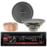 JVC KDR480 Car Radio USB AUX CD Player Receiver - Bundle Combo With 2x 12-Inch Dual 4-Ohm Single Voice Coil Subwoofer + Enrock 50 Foot 18 Gauge Wire