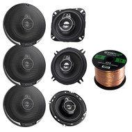 "3 Pairs Car Speaker Package Of 2x Kenwood KFC-1365S 5-1/4"" 250-Watt Coaxial Speakers + 2x KFC1695PS 6-1/2"" 3-way Black Car Speakers + 2x KFC-1095PS 4"" 3-Way Speaker + Enrock 16g 50 Ft Speaker Wire"