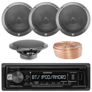 Kenwood KDCBT21 Car CD Player Receiver Bluetooth USB AUX Radio - Bundle Combo With 2x L65-S 6-1/2 Inch Full Range Black Car Component Speakers + Enrock 50 Foot 18 Gauge Wire