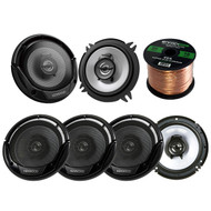"3 Pairs Car Speaker Package Of 2x Kenwood KFC-1365S 5-1/4"" 250-Watt 2-Way Sport Series Flush Mount Coaxial Speakers + 4x KFC-1665S 6 1/2"" 2-Way Black Car Speakers + Enrock 18g 50 Feet Speaker Wire"
