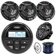 "Milenna PRV17 Gauge Style Marine Boat Yacht Radio Stereo Receiver Bundle Combo With 4x JVC CS-DR6200M 100-Watt 6.5"" 2-Way Coaxial Speakers + Enrock Radio Antenna + 50 Foot 16g Speaker Wire …"