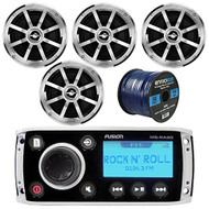 "Fusion MS-RA50 AM/FM AUX iPod Bluetooth Ready Marine Boat Yacht Radio Stereo Receiver Bundle Combo With 4x Jensen MSX60CPR 6.5"" Inch 2-Way Coaxial Speakers + Enrock 50 Foot 16g Speaker Wire"