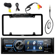 "JVC KD-AV41BT 3"" Single-Din Car Receiver with Bluetooth, DVD, USB, Remote and IPhone Control, Pyle PLCM16BP Car License Plate Frame Rear View Backup Camera, EKMR1 Enrock Marine Black Wire Antenna"