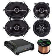 """Kicker 11DX1252 125W RMS 2-Channel DX Series Amplifier, Kicker 41DSC54 5.25"""" 2-Way Speaker, Kicker 41DSC684 D-Series 6x8"""" 400 Watt 2-Way 4-Ohm Car Audio Coaxial Speakers, Enrock Audio 16-Gauge 50 Foot Speaker Wire"""