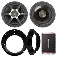 "Speaker And Amp Combo Of 2x Polk Audio MM651 6.5"" Inch 2-Way Ultra Car Motorcycle Marine Boat Speakers Bundle With Speaker Rings for 98-13 Harley + Rockford PBR300X4 4-Channel Waterproof Amplifier"