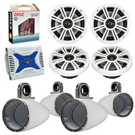 "4 x Kicker 41KM604W 6.5"" Boat Coaxial White Speaker Package + 4 Kicker 12KMTESW Marine White Tower Enclosure + Waterproof Bluetooth Amplifier With Amp Installation Kit"